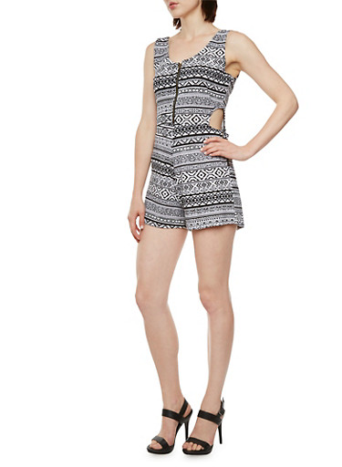 Printed Romper with Cutouts,BLACK/WHITE,large