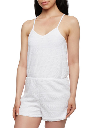 Lace Romper with Crisscross Back,WHITE,large