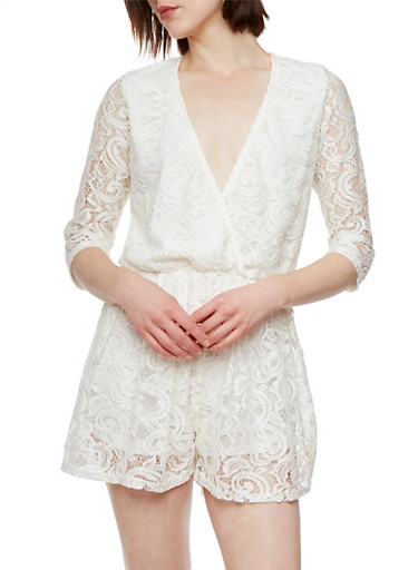 Crochet Romper with Plunging Neckline and Three-Quarter Length Sleeves,IVORY,large