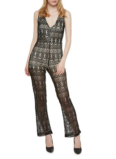 Sleeveless Lace Jumpsuit,BLACK,large