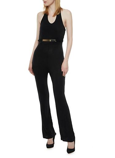 Halter Jumpsuit with Metallic Bar Accent,BLACK,large
