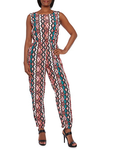 Sleeveless Abstract Print Jumpsuit,NEON PINK,large