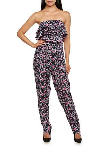 Strapless Floral Jumpsuit with Ruffled Bodice,BLACK,large