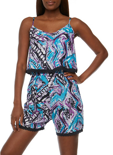 Printed V Neck Sleeveless Romper with Overlay,VIOLET,large