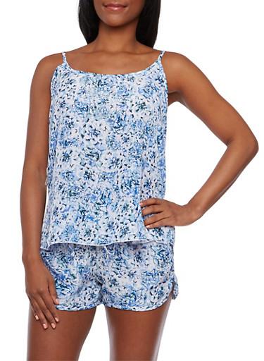 Printed Tank Top and Drawstring Shorts Set,BABY BLUE,large