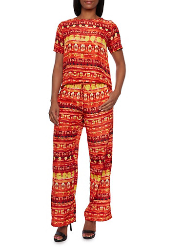 Printed High Low Top and Drawstring Pants Set,MULTI COLOR,large