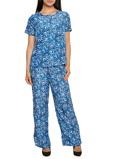 Printed High-Low Top and Drawstring Pants Set,BLUE,large