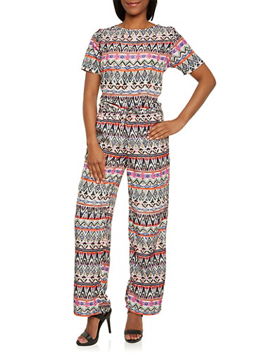 Printed High-Low Top and Drawstring Pants Set,MULTI COLOR,large