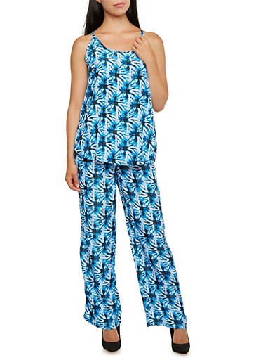 Printed Tank Top and Pants Set,BLUE,large