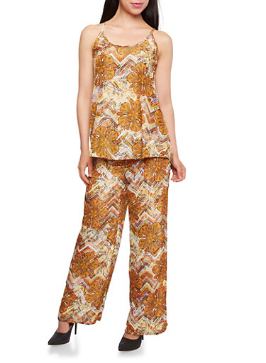 Floral Print Tank Top and Palazzo Pants Set,MULTI COLOR,large