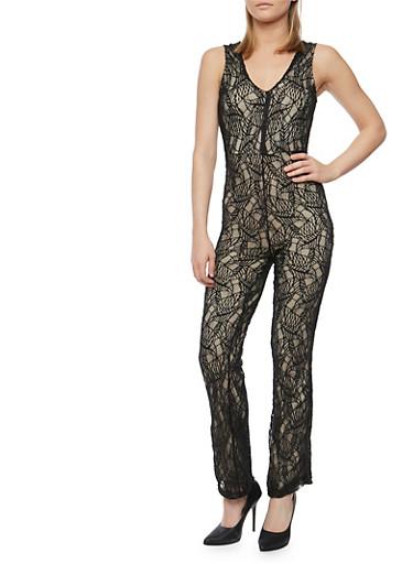 Sleeveless Lace Jumpsuit with Keyhole Back,BLACK/NUDE,large