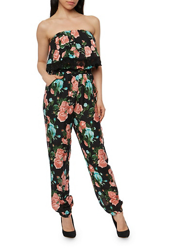 Floral Strapless Jumpsuit with Overlay Detail,BLACK,large