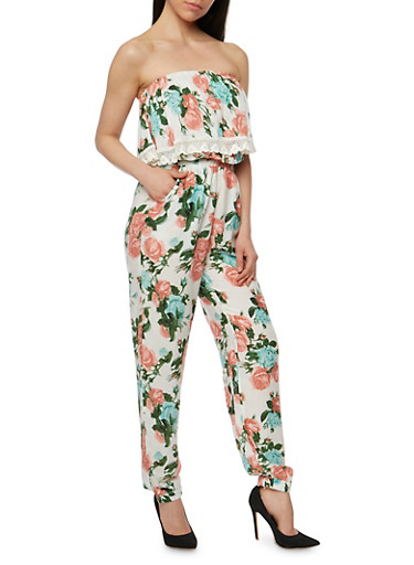 Floral Strapless Jumpsuit with Overlay Detail,IVORY,large