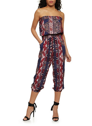 Strapless Printed Capri Jumpsuit,DENIM/RUST,large