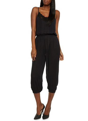 Crotchet Trim Capri Jumpsuit,BLACK,large