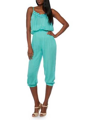 Crotchet Trim Capri Jumpsuit,JADE,large