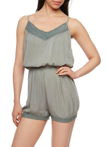 Gauzy Knit Romper with Crochet Trim,SAGE,large