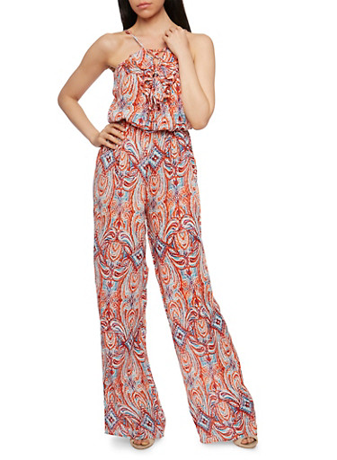 Printed Sleeveless Jumpsuit with Ruffled Lace Up Neckline Detail,CORAL/BLUE,large