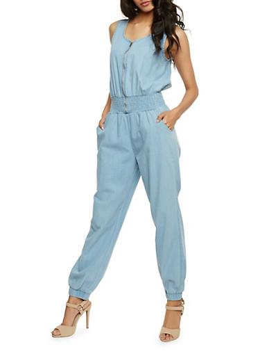 Sleeveless Zip Front Denim Jumpsuit with Smocked Waist,LIGHT WASH,large