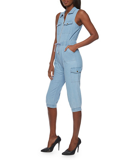 Zip Front Chambray Jumpsuit with Drawstring,LIGHT WASH,large