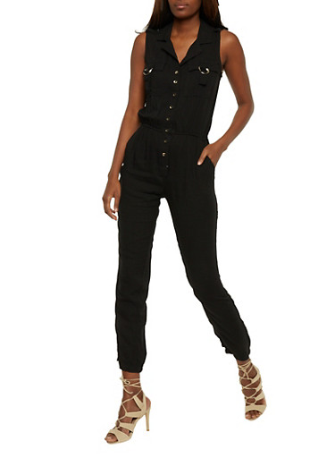 Button Front Sleeveless Jumpsuit with Cinched Waist,BLACK,large