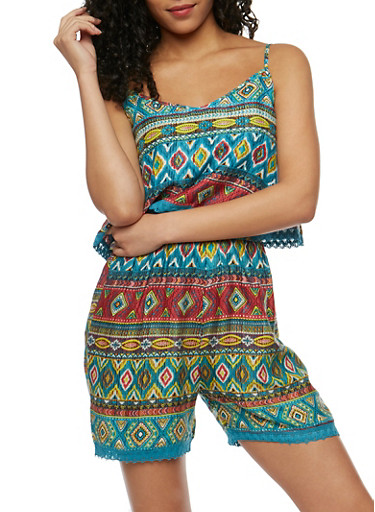 Printed Romper with Crochet Trim Overlay,TEAL,large
