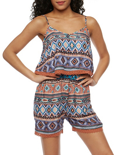 Printed Romper with Crochet Trim Overlay at Rainbow Shops in Daytona Beach, FL | Tuggl