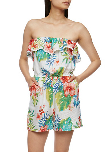 Strapless Tropical Print Romper with Ruffle Overlay,WHITE,large