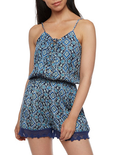 Sleeveless Printed Romper with Lace Up Front,NAVY,large