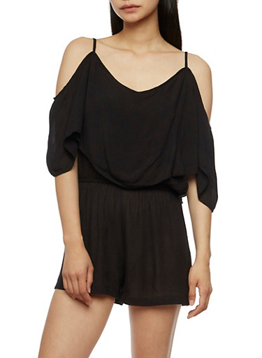 Off the Shoulder Overlay Romper,BLACK,large