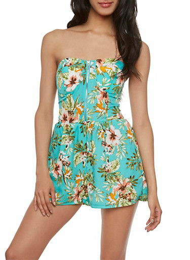 Strapless Floral Romper with Structured Bodice,MINT,large