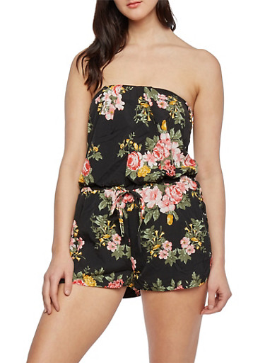 Floral Romper with Faux Lace Up Sides,BLACK,large