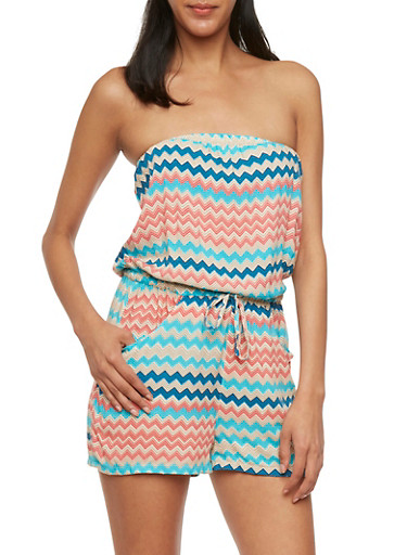 Strapless Printed Romper,TURQUOISE,large