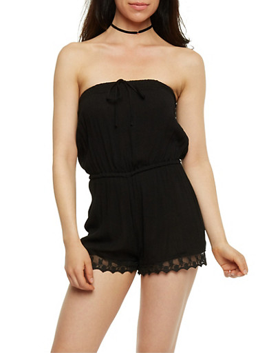 Strapless Gauzy Romper with Lace Trim,BLACK,large