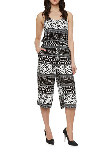 Printed Jumpsuit with Cropped Wide Leg Pants,IVORY,large