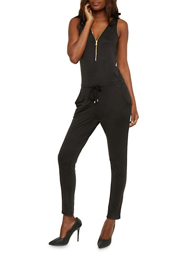 Zip Front Sleeveless Jumpsuit with Drawstring Waist,BLACK,large