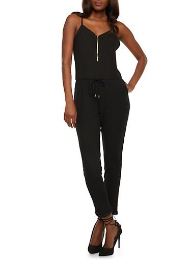 Sleeveless Mid Zip Jumpsuit,BLACK,large