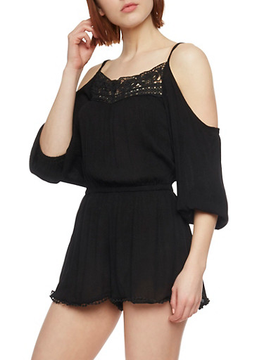 Cold Shoulder Romper with Crochet Trim,BLACK,large