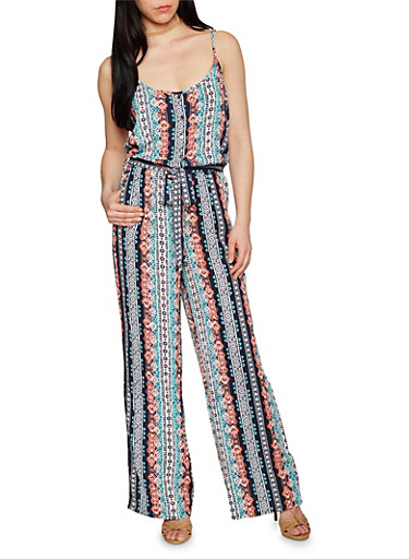 Sleeveless Printed Spaghetti Strap Jumpsuit,MINT,large