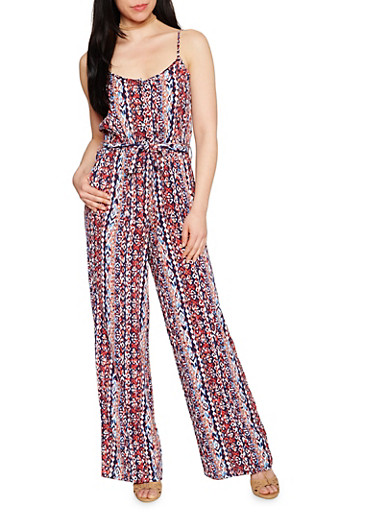 Sleeveless Printed Spaghetti Strap Jumpsuit,BLUE,large