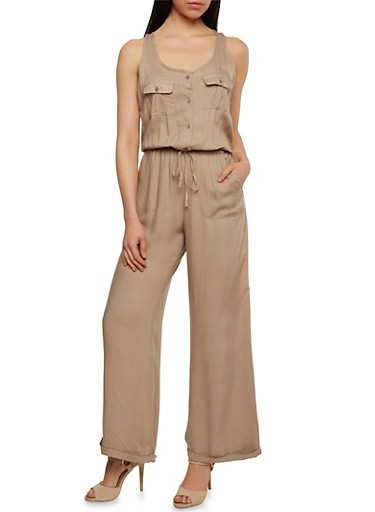 Solid Sleeveless Button Front Jumpsuit,KHAKI,large