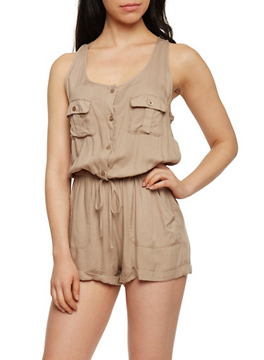 Sleeveless Button Front Romper with Cinched Waist,KHAKI,large