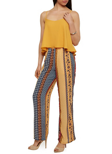 Sleeveless Sheer Overlay Jumpsuit with Printed Bottom,MUSTARD,large