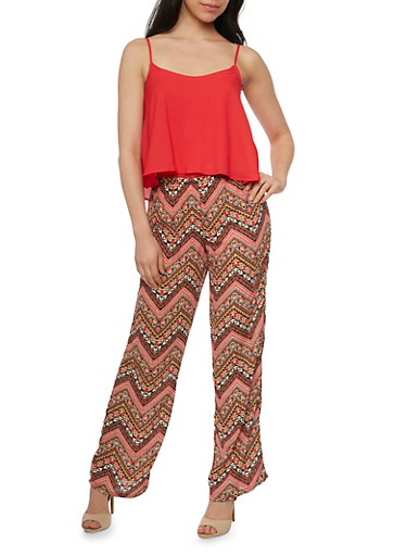Sleeveless Sheer Overlay Jumpsuit with Printed Bottom,RUST,large