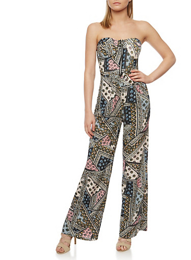 Strapless Printed Jumpsuit with Front Zip Detail,BLACK,large