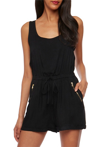 Sleeveless Rolled Cuff Romper,BLACK,large