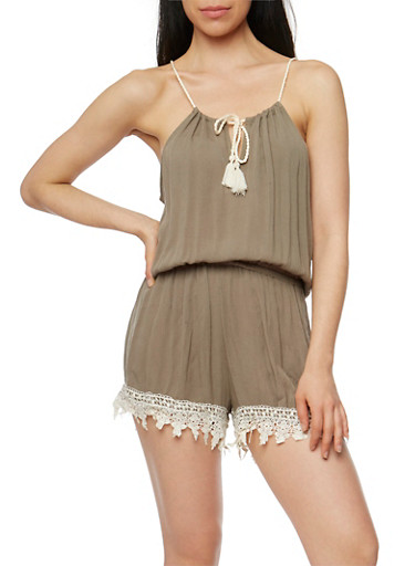 Crinkle Knit Halter Neck Romper with Crochet Trim,OLIVE,large