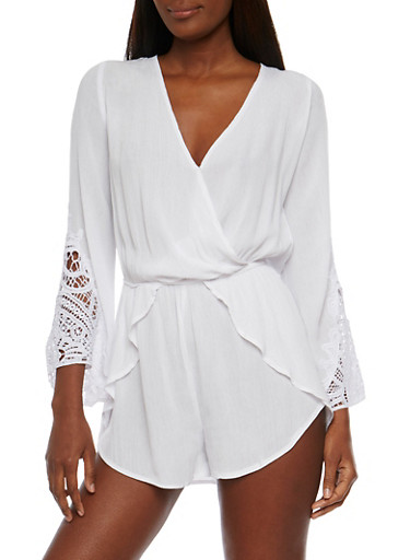 Gauze Knit V Neck Romper with Crochet Bell Sleeves,WHITE,large