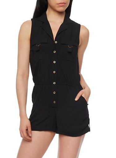 Sleeveless Button Front Romper with Cuffed Shorts,BLACK,large