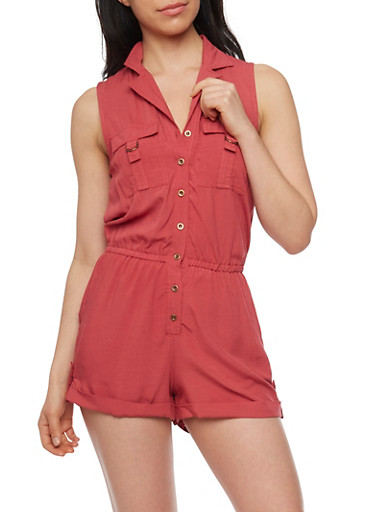 Sleeveless Button Front Romper with Cuffed Shorts,RUST,large